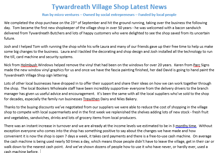 Latest News About Our Social Investment Into Tywardreath Village Shop