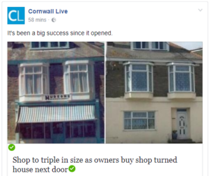 Cornwall Live website features our expansion news
