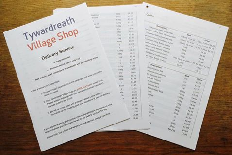 Printed order list available to help our older home delivery customers