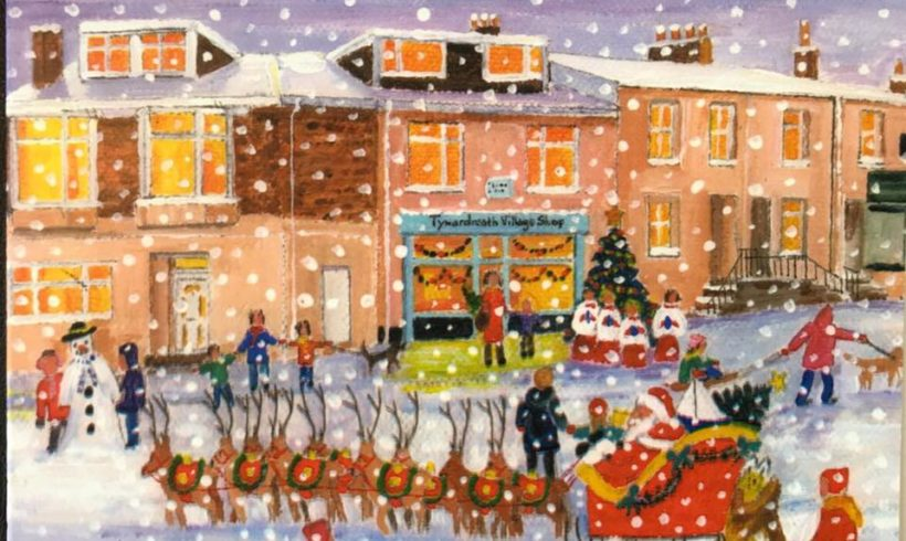 Local artist paints Christmas scene of the shop